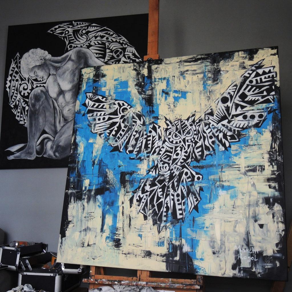 blue-owl-painting-marcin-rogal-art-artwork